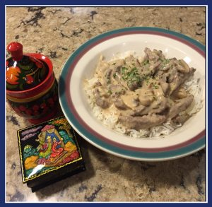 "Finished Beef Stroganoff accompanied by my Russian souvenirs - a painted laquer box and wooden jar with lid from Saint Petersburg, Russia (Image: ""SoS"")"