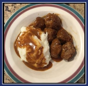 "Finished Swedish meatballs with mashed potatoes. (Image: ""SoS"")"