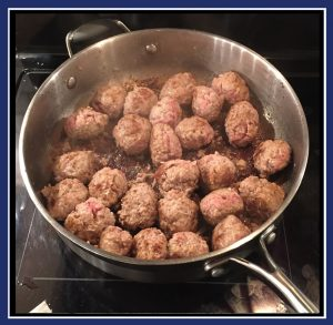 "Browning the Swedish meatballs. (Image: ""SoS"")"